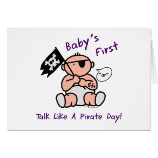 O bebê fala primeiramente como um dia do pirata cartão comemorativo