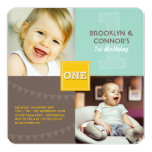 O bebê moderno do quadrado UM do divertimento Convite Quadrado 13.35 X 13.35cm