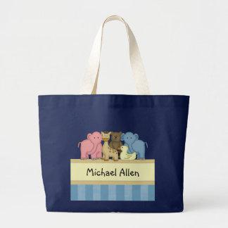 O bebê ou a criança do menino personalizaram o sacola tote jumbo