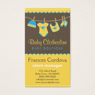 O bebê veste cartões de visitas do boutique do