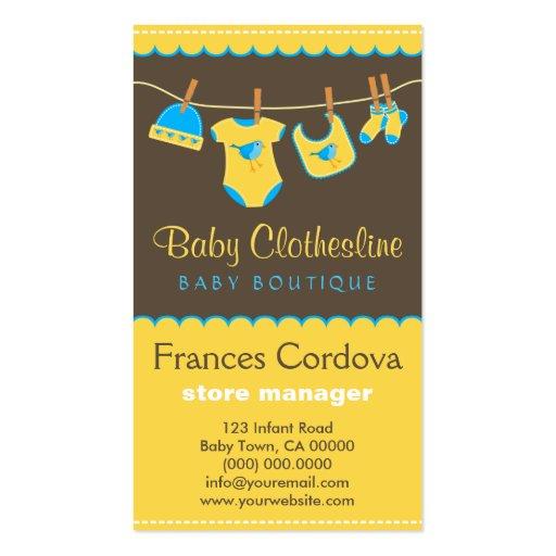 O bebê veste cartões de visitas do boutique do Clo