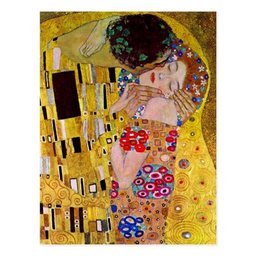 O beijo por Gustavo Klimt, arte Nouveau do vintage Cartão Postal