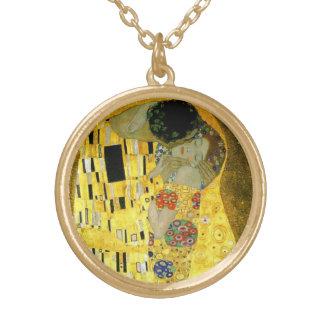 O beijo por Gustavo Klimt Colar Banhado A Ouro