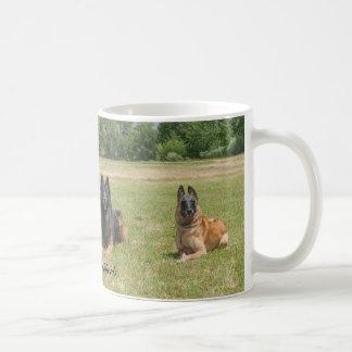 O belga Shepherds a caneca de café
