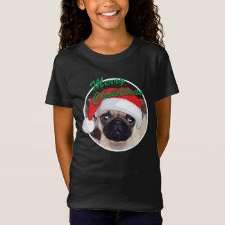 O Bella das meninas do Pug do Natal+T-shirt do Camiseta