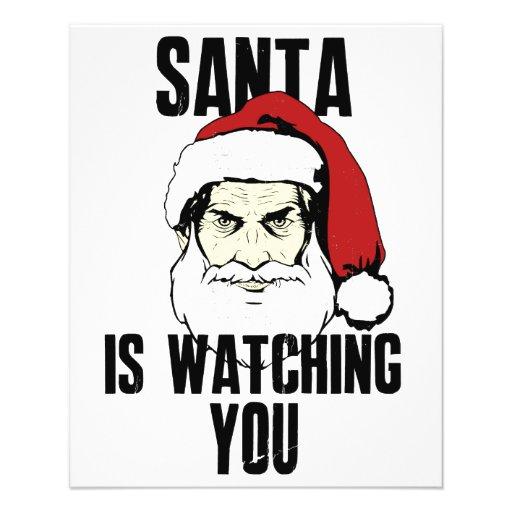 O big brother Papai Noel está olhando-o Panfleto Coloridos