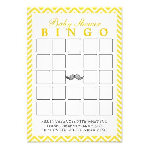 O bigode Chevron listra cartões do Bingo do chá de Convites Personalizado