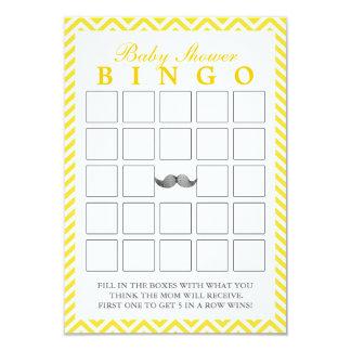 O bigode Chevron listra cartões do Bingo do chá de Convite 8.89 X 12.7cm