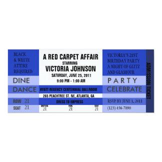 O bilhete da admissão convida [o azul] convite 10.16 x 23.49cm