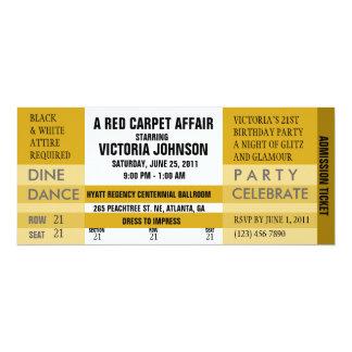 O bilhete da admissão convida [o ouro] convite 10.16 x 23.49cm
