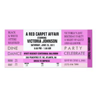 O bilhete da admissão convida [o rosa] convite 10.16 x 23.49cm