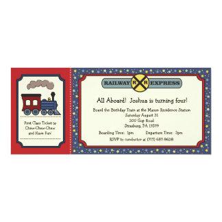 O bilhete de trem convida - vermelhos rústico & o convite 10.16 x 23.49cm