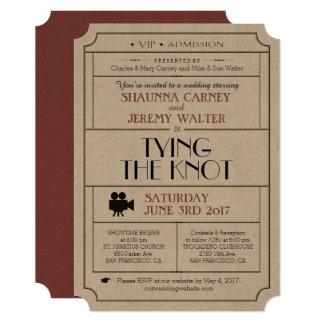 O bilhete do vintage do casamento convida/o tema convite 12.7 x 17.78cm