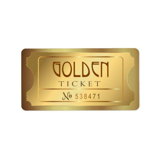 O bilhete dourado admite um vintage livre da etiqueta de endereço