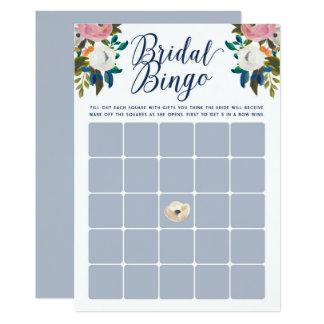 O Bingo floral do chá de panela carda a luz - azul Convite 12.7 X 17.78cm