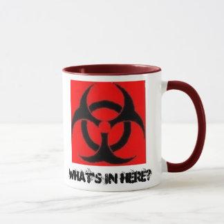 O Biohazard, o que está dentro aqui? - caneca