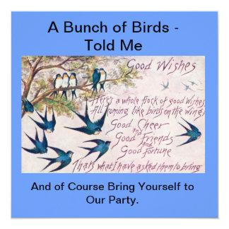 O Birds of a Feather convida junto Convite Quadrado 13.35 X 13.35cm