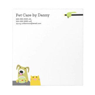 O bloco de notas do baby-sitter do animal de