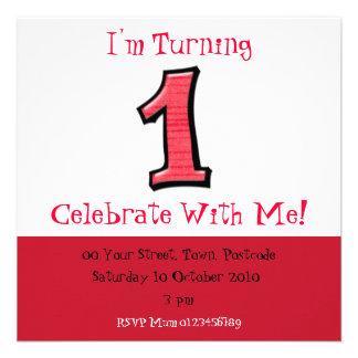 O bobo numera 1 convite vermelho do aniversário