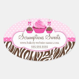 O bolo estala etiquetas da padaria do cupcake adesivo oval