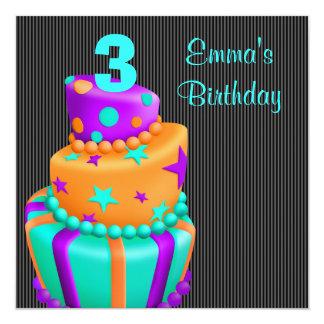 O bolo preto roxo apresenta a meninas o convite quadrado 13.35 x 13.35cm