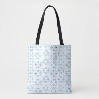 O bolsa abstrato floral azul pálido e branco