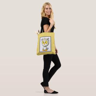 O bolsa amarelo e cinzento do bebê da coruja de