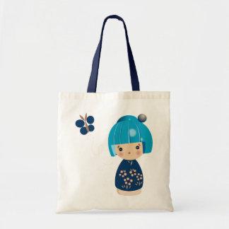 O bolsa azul da objectiva tripla de Kokeshi