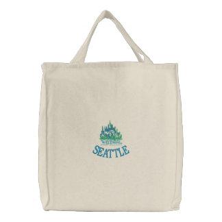 O bolsa bordado de SEATTLE cidade esmeralda
