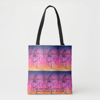 O bolsa com aguarela pintado à mão e peixes