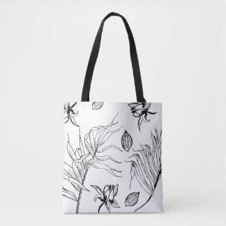 O bolsa com impressão preto e branco do Wildflower