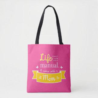O bolsa cor-de-rosa com umas citações para a mamã