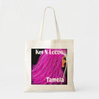 o bolsa cor-de-rosa da senhora do cabelo