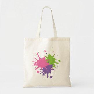 O bolsa cor-de-rosa, verde e roxo da pintura