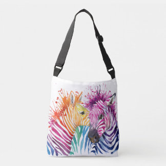 O bolsa do corpo da cruz do arco-íris da zebra