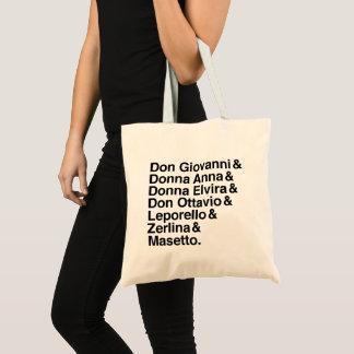 O bolsa do elenco de personagens de Don Giovanni