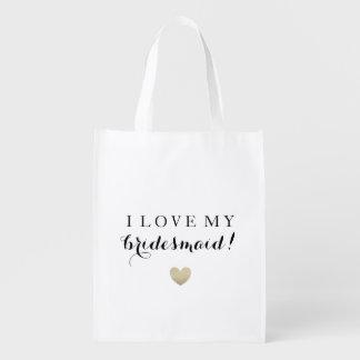 O bolsa do mercado - amor da dama de honra sacolas ecológicas para supermercado