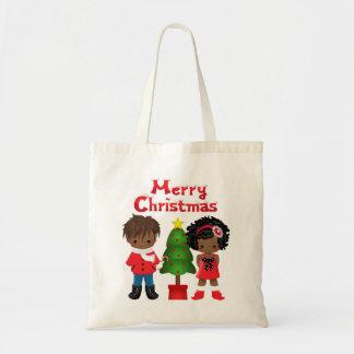 O bolsa do Natal com crianças do afro-americano