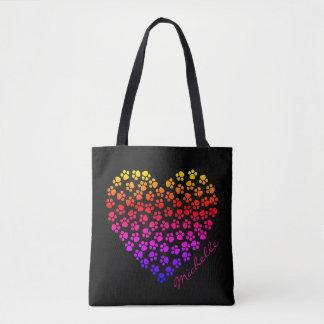 O bolsa do nome do coração do arco-íris do
