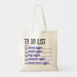 O bolsa do orçamento da lista de afazeres do café