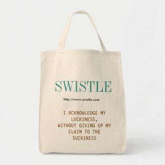 O bolsa do slogan do blogue de Swistle, azul esver