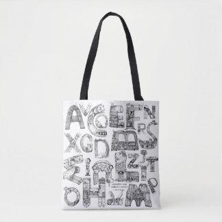 O bolsa fantástico do branco das letras