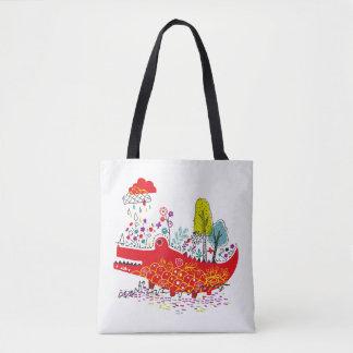 O bolsa feliz do impressão de Croc toda sobre -