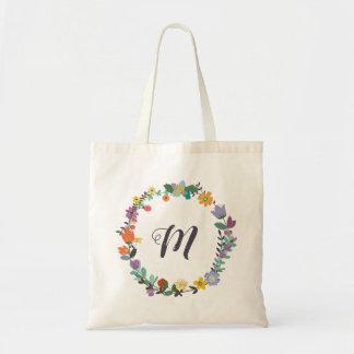 O bolsa floral do monograma da grinalda - Charlie