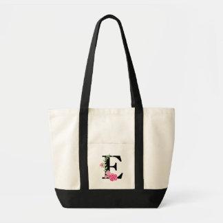 O bolsa floral do monograma do rosa/preto