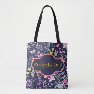 O bolsa floral do verso da bíblia do 16:3 dos