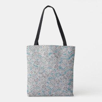 O bolsa floral do vintage cinzento