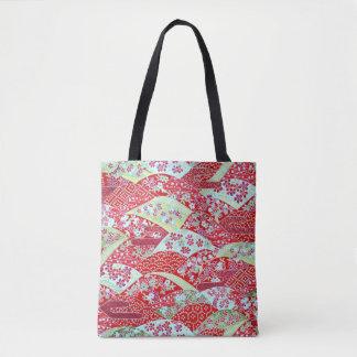 O bolsa floral vermelho de Origami Yuzen da arte