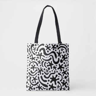 Black & White Funky Blob & Squiggle Pattern Tote