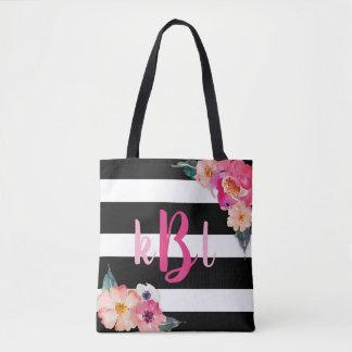 O bolsa listrado floral do monograma